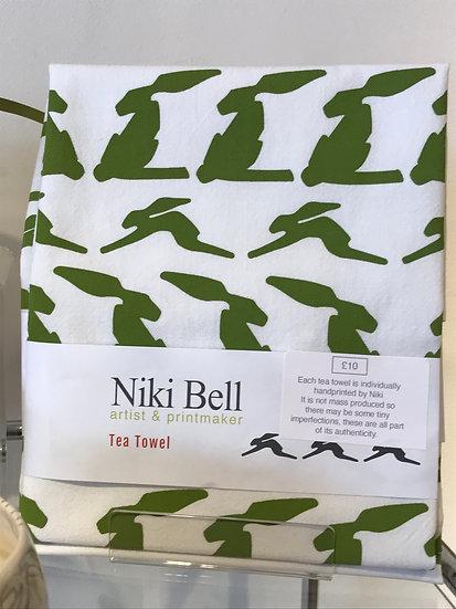 Handprinted tea towel by Niki Bell
