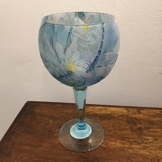 Large Stemmed Glass Blue Dragonfly