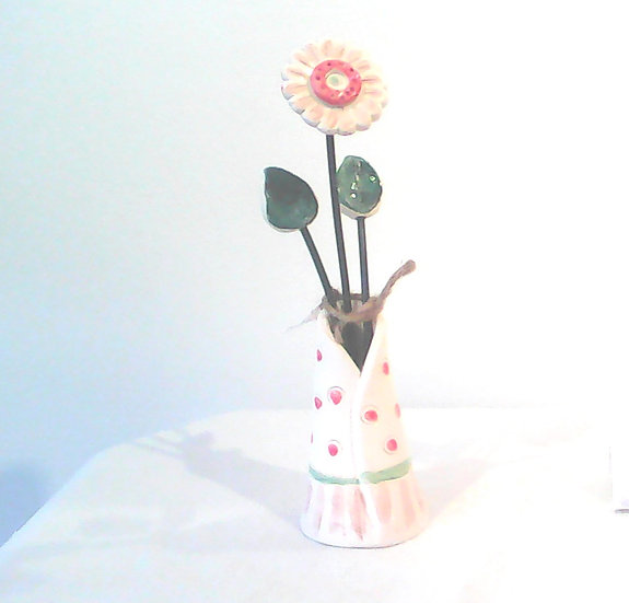 Medium Vase and Flowers Pink/Green