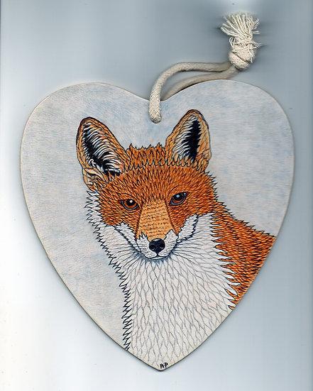 Winter Fox  Wooden Heart