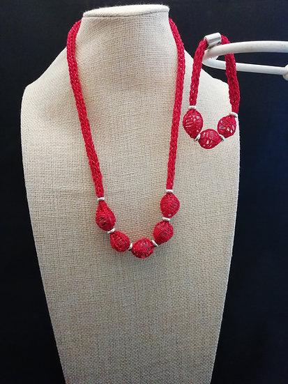 Necklace & Bracelet Set- Red / Green
