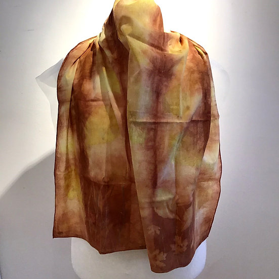 Eco Dyed Cotton Scarf - Dark Madder and Chestnut