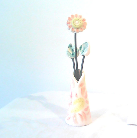 Vase and Flowers Pink/Yellow