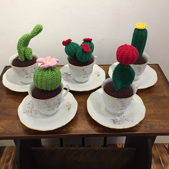 Knitted Cacti in Teacup with Saucer