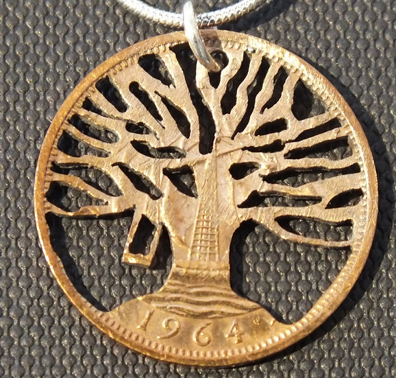 Tree of Life Swing Half Penny Pendant