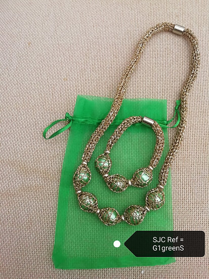 Necklace &; Bracelet Set-Gold  Green