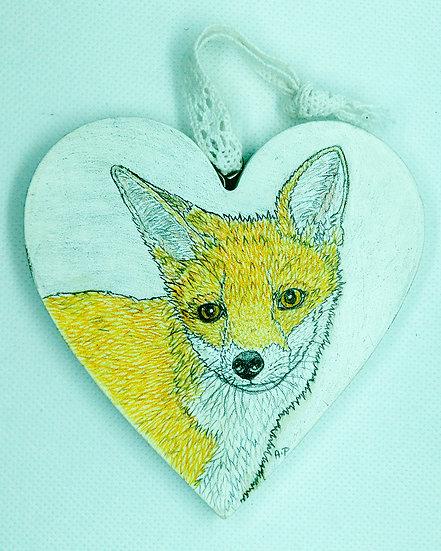 Small Fox  Wooden Heart