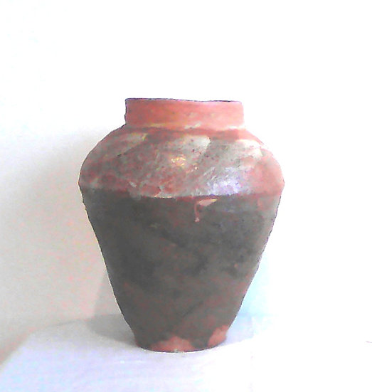 Tall Rimmed Brown Jar