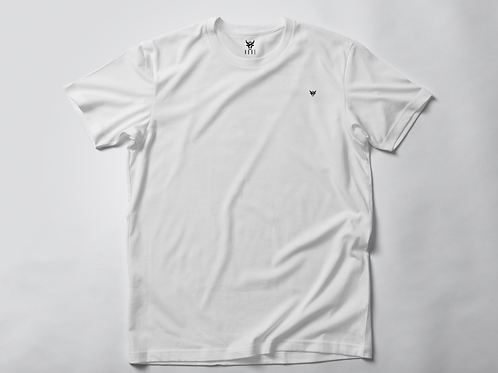 HOBE t-shirt with crew neck and roll sleeve White