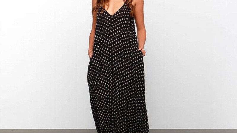 Vestido de Sol - Negro con estampado Polka-dot
