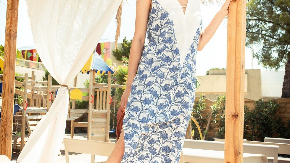 Vestido de Sol - Long Beach Dress in Blue Biro