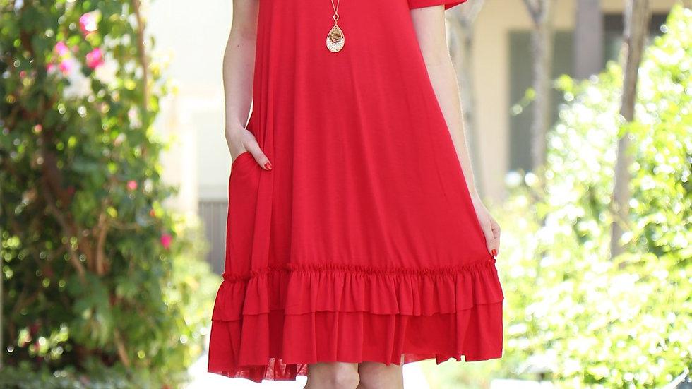 Vestido de Sol - Manga Corta Riah Fashion Hem Dress