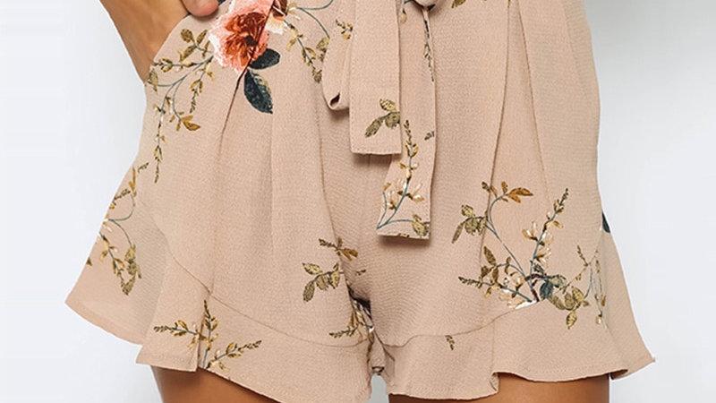 Shorts - Cintura Alta Con Bolsas Boho Casual Print Florar Shorts de Verano