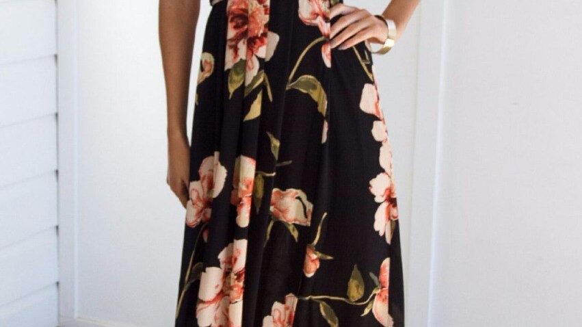 Vestido de Playa - Con Estampado Floral Vestido Espalda Descubierta