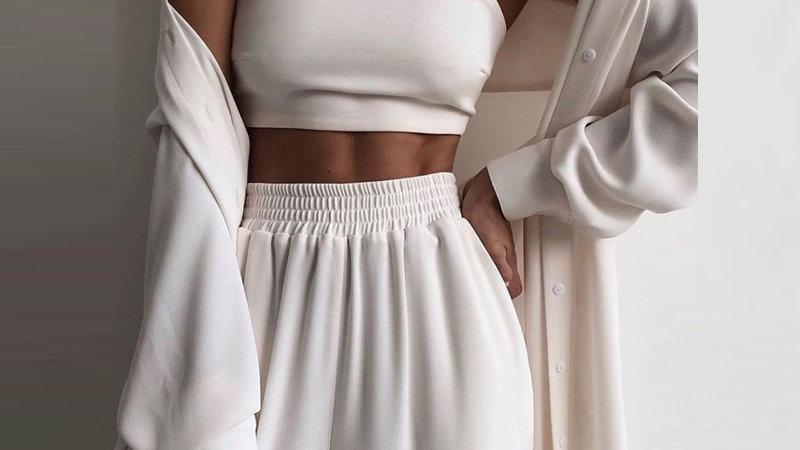 Set de 3 Piezas - Wrap Casual tono solido, Top suave y Pantalones olgados