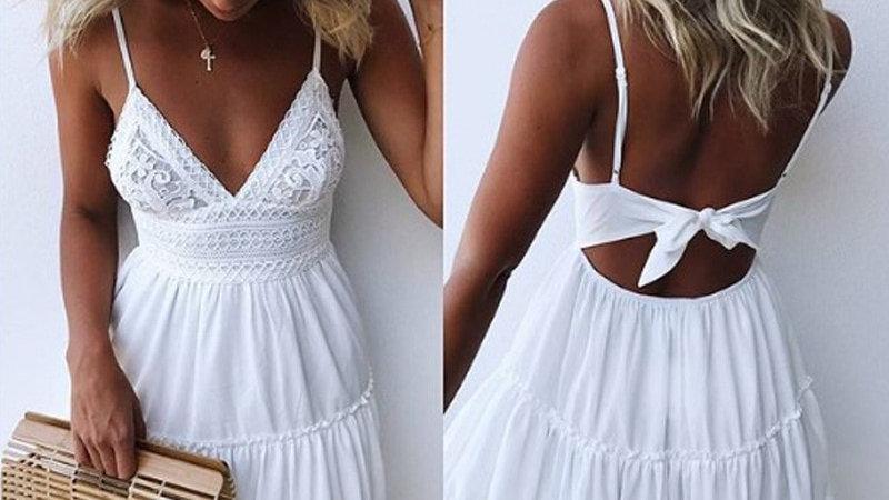 Sun Dress - Vestido Blanco Encaje Cuello V Escote Sin Mangas Spaghetti Strap