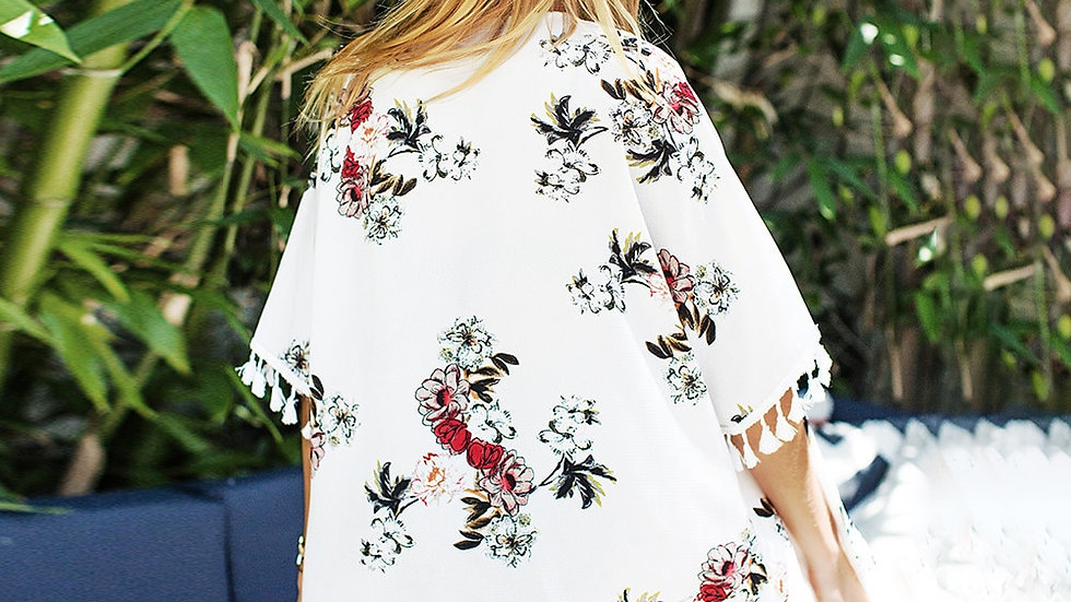 Cover Up Kimono -  Chiffon Estampado Floral Tassels Tunica
