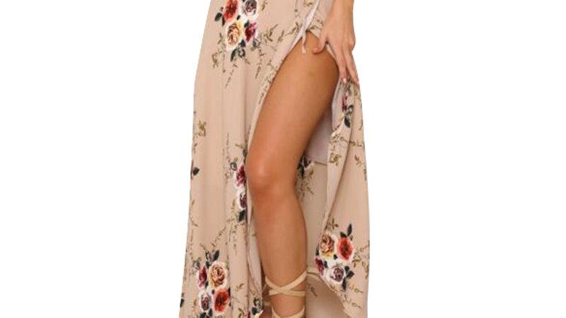 Falta irregular Larga - Boho Vintage con estampado Floral corte Side Slit