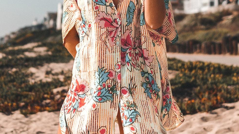 Cover Up estilo Camisa - Estampado Floral con Botines Largo Suelto y Cómodo