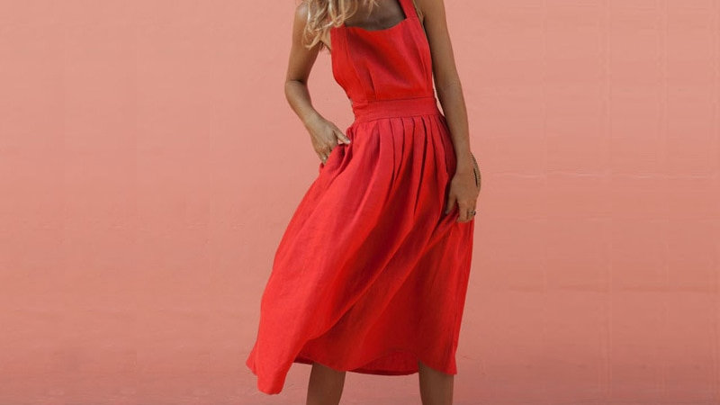 Sundress -  Boho Rayado Semi Largo Vestido Rojo Escote de Espalda