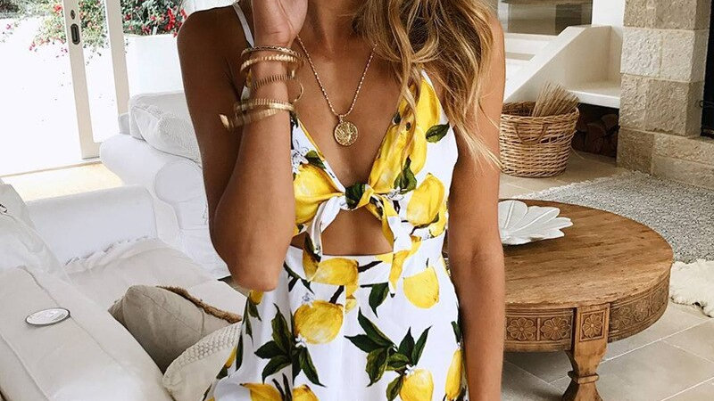 Romper - Backless Lace Up Floral Print