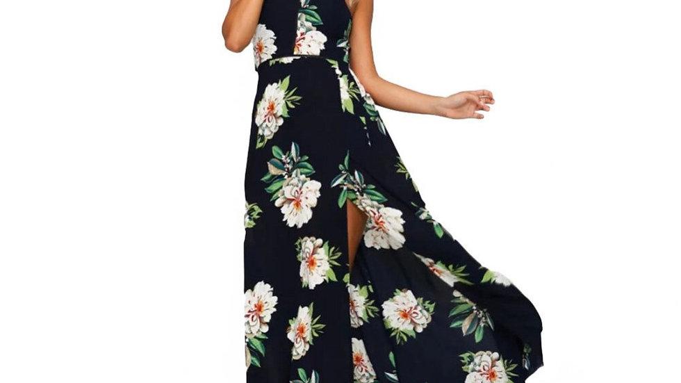 Vestido Largo - Neck Chiffon Floral Sin Mangas Escote de Espalda Boho