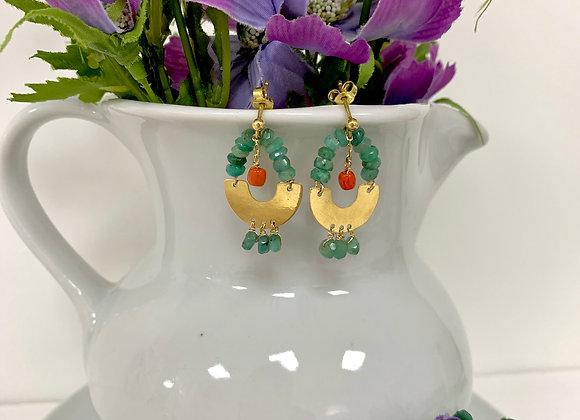 Orecchini smeraldi , corallo e oro giallo
