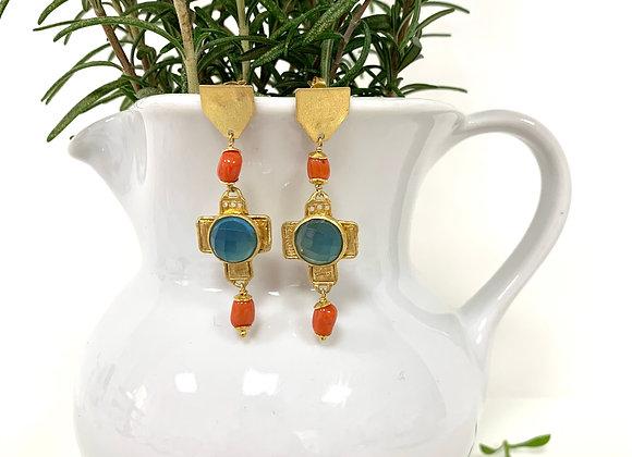 Orecchini chandelier croce calcedonio