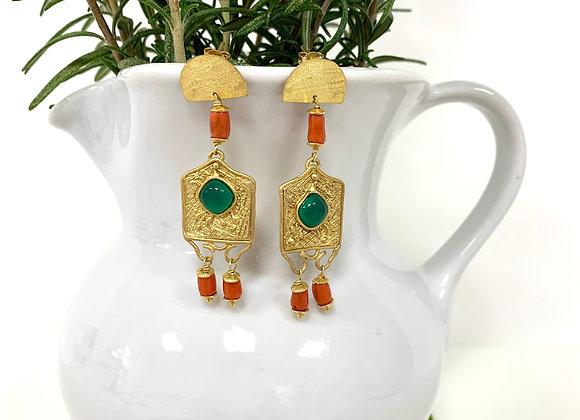 Orecchini chandelier agata verde