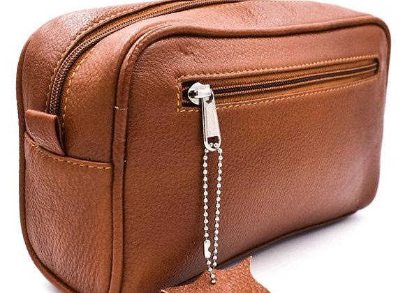 Parker Saddle Brown Leather Travel/Dropp Kit