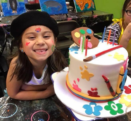 Kids Paint Birthday Party Under Blacklight