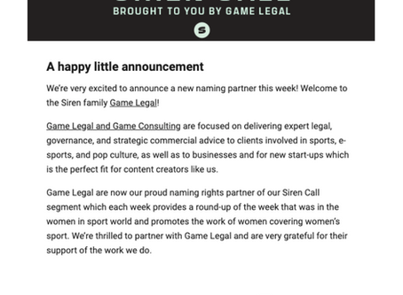 Game Legal announced as naming rights partner of Siren's 'Siren Call' newsletter