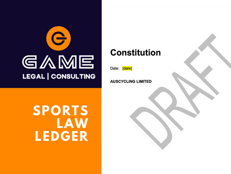Sports Law Ledger - Monday 14 September 2020