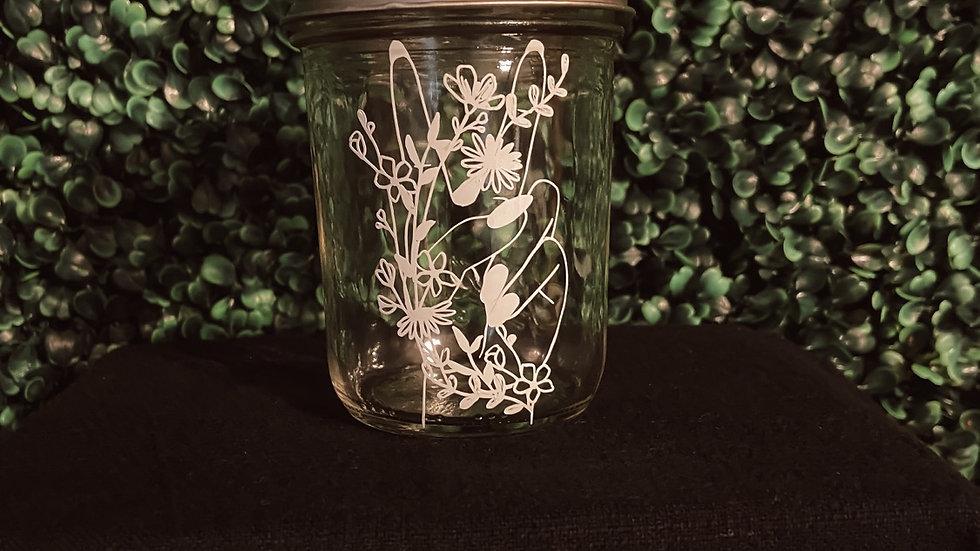 Handful of Flowers Mason Jar Glass