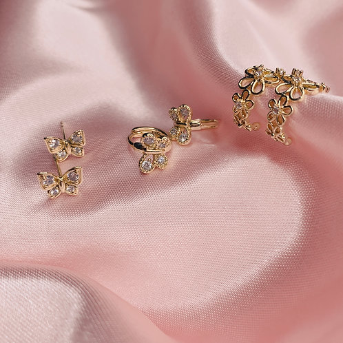 BUTTERFLY & FLOWER STUDS, MINI HOOPS & EAR CUFF