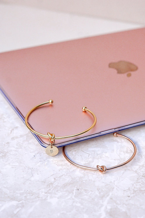 KNOT BANGLE IN GOLD & ROSEGOLD