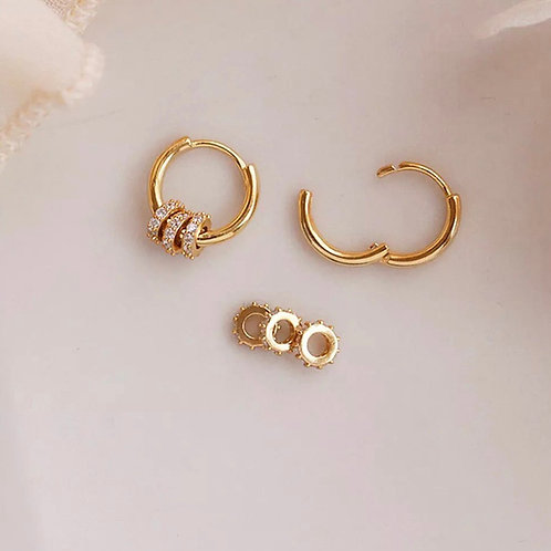 CZ MIRO HOOPS  (Removable Charms)