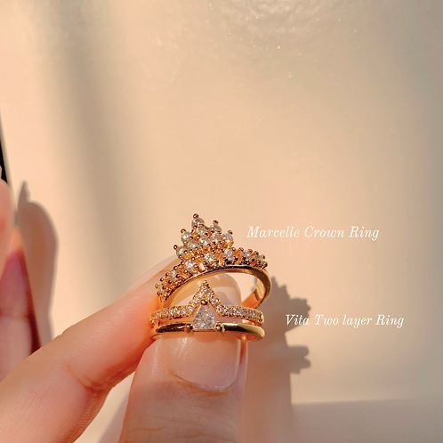 MARCELLE CROWN & VITA 2 LAYER RING