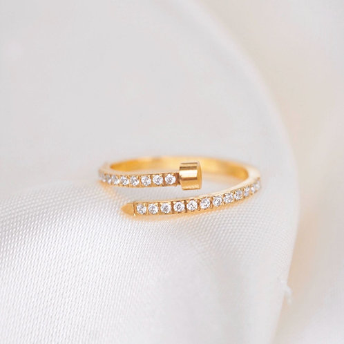 NAIL WITH ZIRCONIA STONES RING