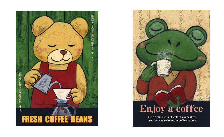 左:Fresh Coffee Beans 右:Enjoy a coffee