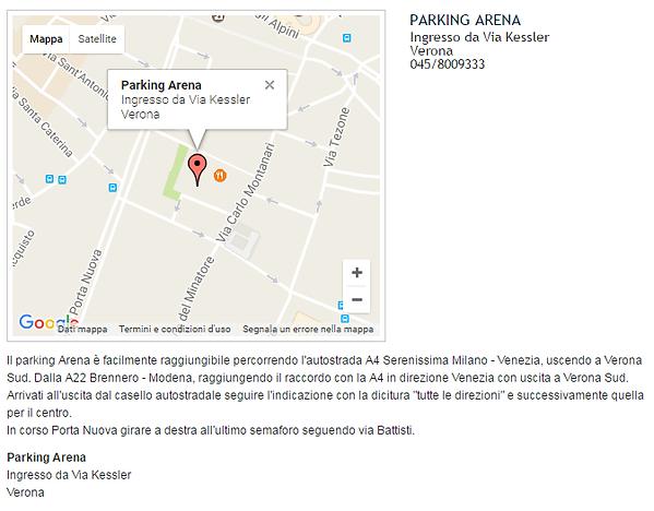 Mappa Parking Arena Verona