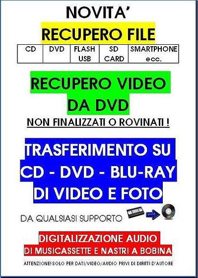 TRASFERIMENTO DATI DA VHS E ANALOGICO IN DVD