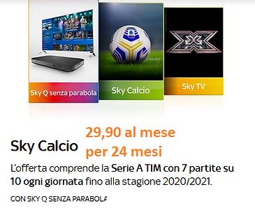 sky calcio 29.90 € 24 mesi