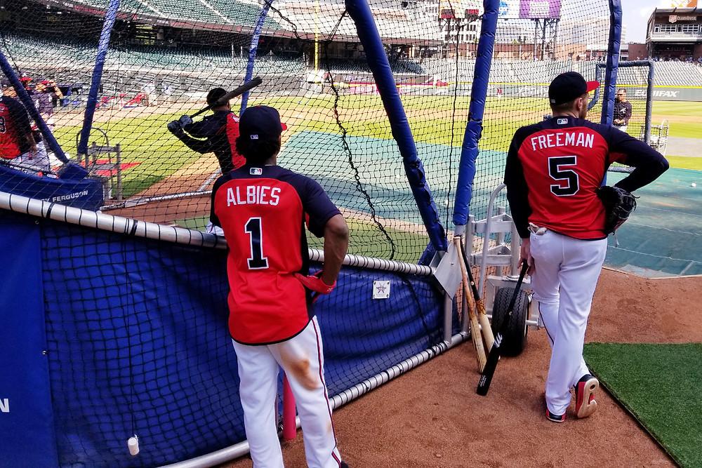 Ozzie Albies and Freddie Freeman of the Atlanta Braves