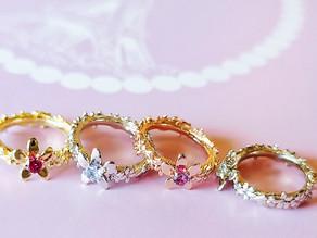 New スミレの花かんむりbaby ring