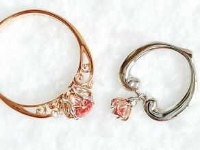 パパラチアサファイアを留めたロータスのmam&baby ring
