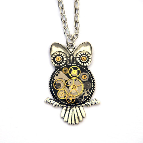 Large Silver Owl Necklace