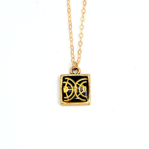 Small Square Gold Necklace