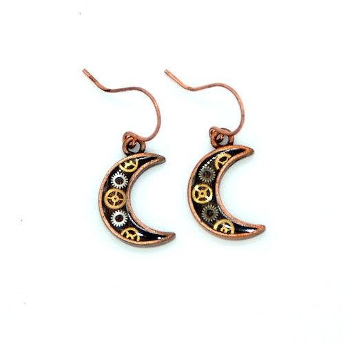 Small Moon Copper Earrings