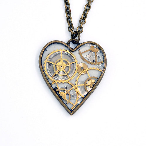 Transparent Heart Brass Necklace